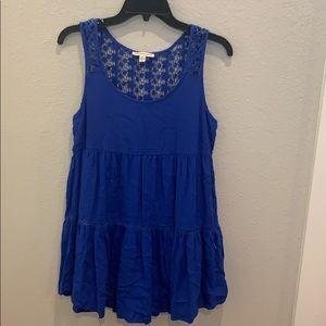 A blue flower lace dress